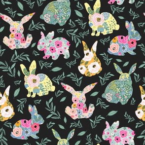 "8"" Floral Bunnies Muted Black Back"