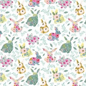"4"" Floral Bunnies White Back"