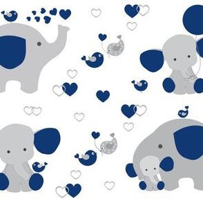 Navy blue elephant baby boy nursery