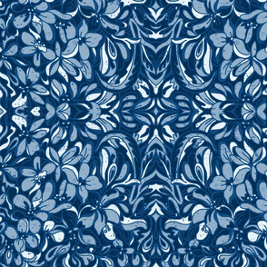 classic blue floral tapestry