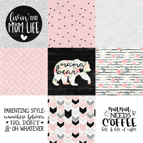 Mom Life//Coffee//Pink - Wholecloth Cheat Quilt