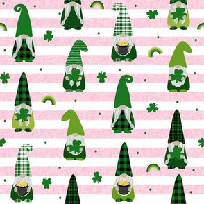 st patricks day gnome fabric - scandi gnome, gnome design, lucky gnome - pink stripe