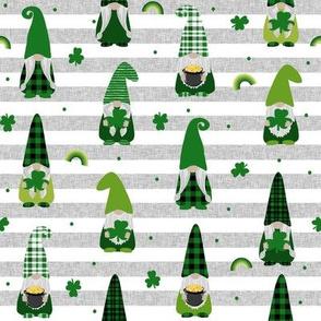 st patricks day gnome fabric - scandi gnome, gnome design, lucky gnome - grey stripe