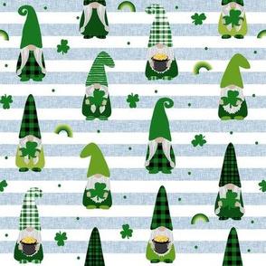 st patricks day gnome fabric - scandi gnome, gnome design, lucky gnome - blue stripe