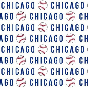 chicago love fabric - blue and red, chicago baseball, chicago sports, chicago sports teams