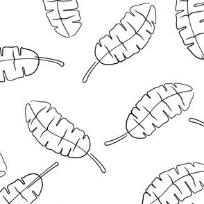banana leaf - tropical leaves - toss b&w - LAD20