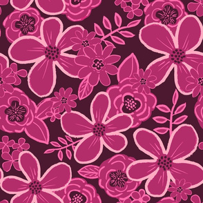 Magenta Rosewood toned floral, XL