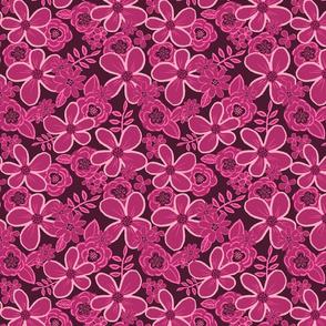 Magenta Rosewood tones floral, medium