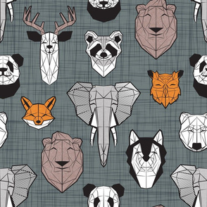 Normal scale // Friendly Geometric Animals // green grey linen texture background black and white orange brown and grey deers bears foxes wolves elephants raccoons lions owls and pandas
