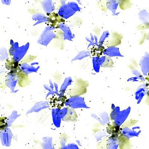 Ethereal flowers in blue and khaki ★ watercolor florals for modern home decor, bedding, nursery