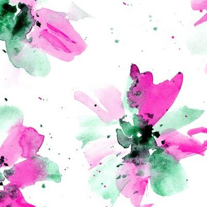 Ethereal flowers in fuchsia and emerald ★ watercolor florals for modern home decor, bedding, nursery
