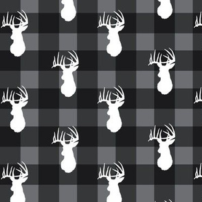 Deer Stag White on Grey Plaid