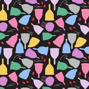 Menstrual Cups on Black