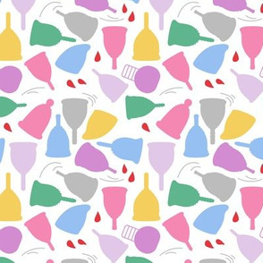 Menstrual Cups on White