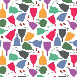 Menstrual Cups Brights on White