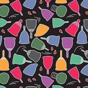 Menstrual Cups Brights Toon on Black