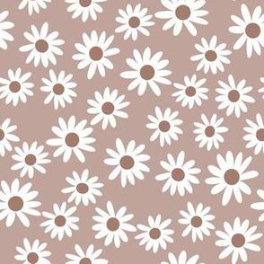 daisies fabric - daisy fabric, neutral daisies,  brown daisy, brown daisies fabric
