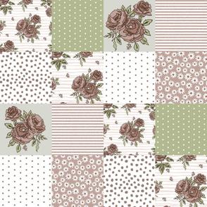 brown rose quilt fabric - quilt squares, quilt fabric, patchwork