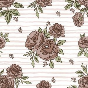 brown rose stripe fabric - brown roses, neutral rose, muted rose, muted floral