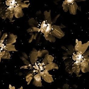 Ethereal flowers in gold on black ★ painted florals for modern home decor