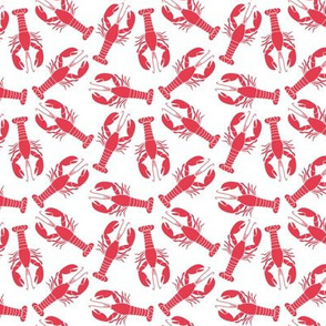 tiny red lobsters on white