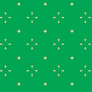 Diamond Flowers - Green & Peach - Medium