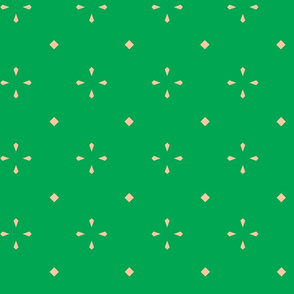 Diamond Flowers - Green & Peach - Large