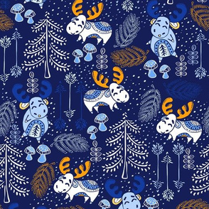 Moose Wonder Woodland in Ice Blue