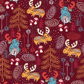 Moose Wonder Woodland in Red Mustard
