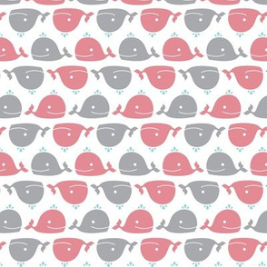 Happy Whales Pink & Grey