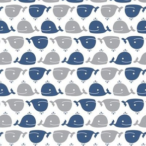 Happy Whales Blue & Grey