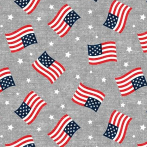 American Flag - USA - stars and flags - grey  - LAD20