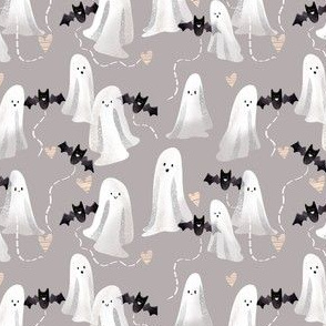 Tiny Sweet Ghosts and Bats - on Gray