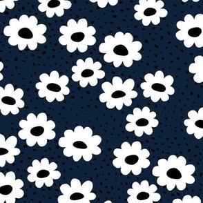 Scandinavian daisies flower design white blossom minimal abstract retro daffodil daisy modern night navy blue small