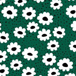 Scandinavian daisies flower design white blossom minimal abstract retro daffodil daisy modern forest green small