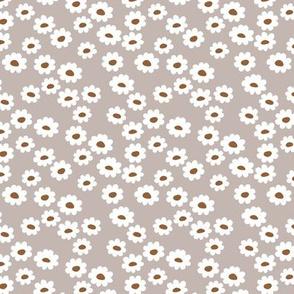 Scandinavian daisies flower design white blossom minimal abstract retro daffodil daisy modern soft gray russet