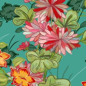 floral screen teal