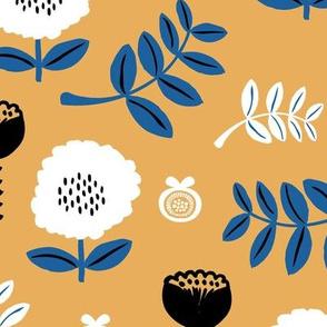 Poppy flower garden Scandinavian boho style summer blossom in neutral ochre classic blue