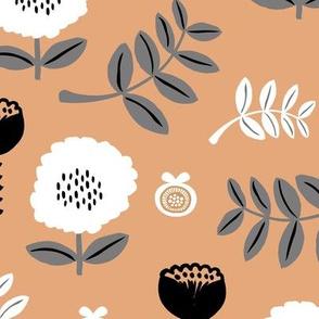 Poppy flower garden Scandinavian boho style summer blossom in neutral sand beige gray