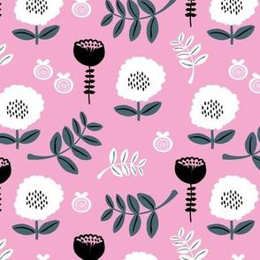 Poppy flower garden Scandinavian boho style summer blossom in bright pink forest green SMALL