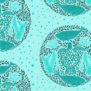 Turquoise sea turtle and whales