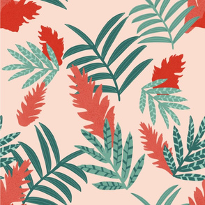 Tropical Ginger Flower, coral and green