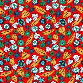 Micro Print - Tropical Abstract - Red
