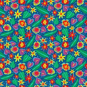 Micro Print - Tropical Abstract Dark Blue