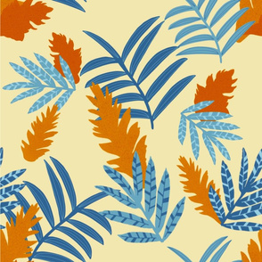 Tropical Ginger Flower, blue and copper