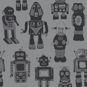 Hand drawn Vintage Robots Dark Grey - Medium scale