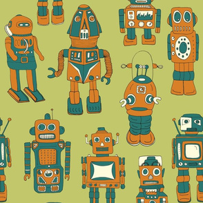 Hand drawn Vintage Robots Retro Green - Medium scale