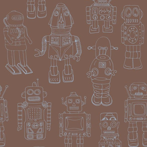 Hand drawn Vintage Robots Brown and Blue Outline - Medium scale