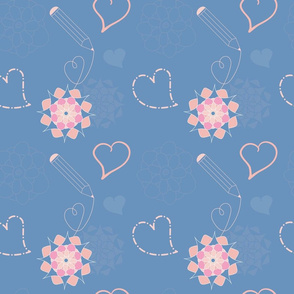 Valentine Hearts CollectionBlue Pattern