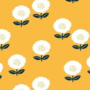Sweet Scandinavian spring flower garden minimal daisies design ochre navy blue